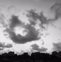 skyline with airplane